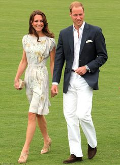 love the floral dress~ another Jenny Packham. William and Kate look so comfortable together!!