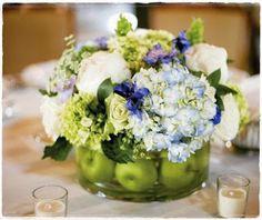 Hydrangea Wedding Centerpieces Decorate In A Hydrophillic Way - Blue Hydrangea Centerpieces Wedding Ideas Green Hydrangea Centerpieces, Apple Centerpieces, Purple Wedding Centerpieces, Centerpiece Ideas, Wedding Lanterns, Floral Wedding, Rustic Wedding, Wedding Flowers, Wedding Ideas