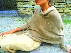 knitted hemp sweater, unique poncho with sleeve, hemp cover, boho, artsy asymmetric blouse, eco friendly overlay, art to wear, OOAK 92 by AnnaDamzyn on Etsy