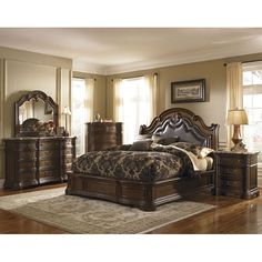 The Courtland Bedroom Set by Pulaski Furniture is inspired by the beautiful landscapes and rich artistic legacy of Tuscany. Its voluptuous shape, nail studded padded leather headboard, scrolled volutes, marble tops, antiqued hardware and grand mouldings are hallmarks of the craftsmanship and artisty of fine traditional furniture. Crafted from select solids and pecan veneers the multi-step deep finish is weathered for a rustic Tuscan appearance. It has been updated to include modern ...