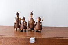 danish hand turned wood viking figures
