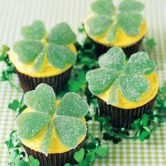Green candy spearmint leaves help make these adorable clover-topped treats using your favorite cupcake recipe or mix.