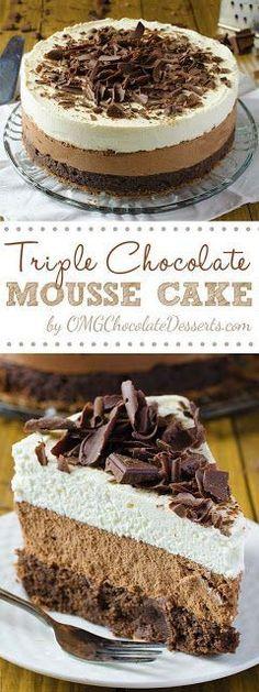 Triple Chocolate Mousse Cake Recipe - My Kitchen Recipes
