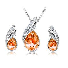 Silver Plated Orange Crystal Teardrop Necklacen Earrings Set