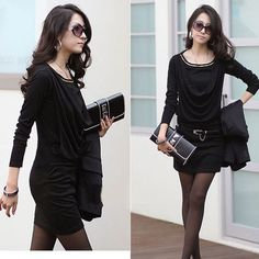 New Fashion Pure Color Autumn / Winter Cotton Blends Long Sleeve Dress
