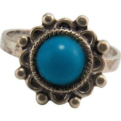 Vintage Sterling Silver Southwestern Turquoise Ring --- found at www.rubylane.com @rubylanecom