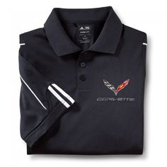 Stingray Adidas Performance Polo - Black  The classic Adidas look with a CorvetteCollection touch. This polo features a 3-button placket with a rib-knit collar, side vents for easy movement and contrast piping on front and back sleeves. C7 crossed flags and Corvette signature embroidered on left chest. 100% polyester. Imported.  SKU: CJ2-MP030