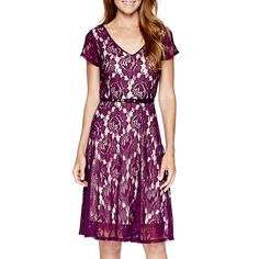 Jcp Melrose 3 4 Sleeve Lace Fit And Flare Dress