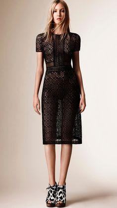 Burberry | Black Lace Shift Dress | Lyst
