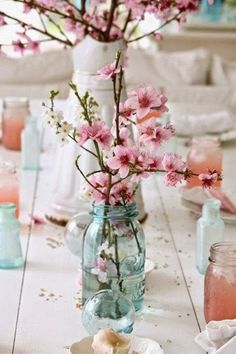 The Beauty of a Cherry Blossom Wedding Theme: Wedding Centerpieces.  | Read more: http://simpleweddingstuff.blogspot.com/2015/03/the-beauty-of-cherry-blossom-wedding.html    Recreate this beautiful look for your wedding at http://www.afloral.com/ #diywedding