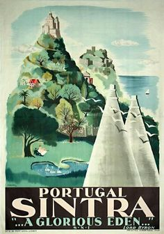 Items similar to Original Vintage Travel Poster Portugal Sintra 1949 on Etsy Retro Poster, Poster Ads, Print Poster, Travel Ads, Travel Photos, Vintage Travel Posters, Vintage Postcards, Illustrations Vintage, Pub Vintage