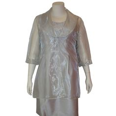 Fashionably Yours - Mother of the Bride Light Silver 2 Pcs Dress