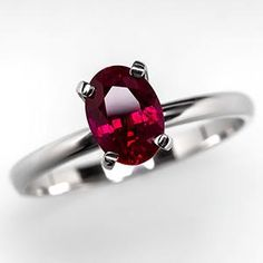 Ruby Engagement Ring w/ 1.2 Carat Oval in Platinum - EraGem
