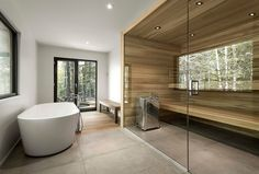 Built by Architecture in Lac-Supérieur, Canada with date Images by Julien Perron-Gagné. Architectural design firm marries modern residences with a natural experience in the Canadian Laurentians. Residential Architecture, Contemporary Architecture, Interior Architecture, Modern Saunas, Interior Exterior, Interior Design, Interior Photo, House In Nature, Of Montreal