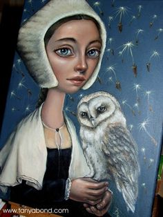 Lady LOVELL - ORIGINAL oil painting - surreal pop fantasy art barn owl dandelion Medieval dress costume - lowbrow art portrait by Tanya Bond... https://www.etsy.com/shop/tanyabond