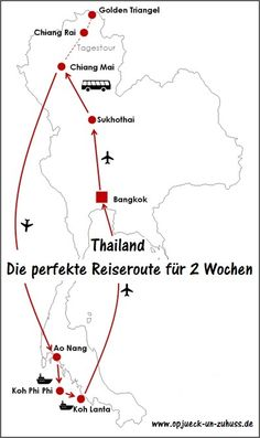 Reiseroute Thailand Rundreise 2 Wochen – Itinerario Tailandia ida y vuelta 2 semanas – Bangkok Thailand, Beste Reisezeit Thailand, 2 Weeks In Thailand, Thailand Vacation, Thailand Travel Tips, Europe Travel Tips, Asia Travel, Budget Travel, Thailand Itinerary 2 Weeks