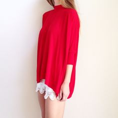 | new | red high neck top offers welcome new with tag red high neck top with back zipper and dolman style. available in small and extra large. •860933•  instagram: @xomandysue bobeau Tops Tees - Long Sleeve