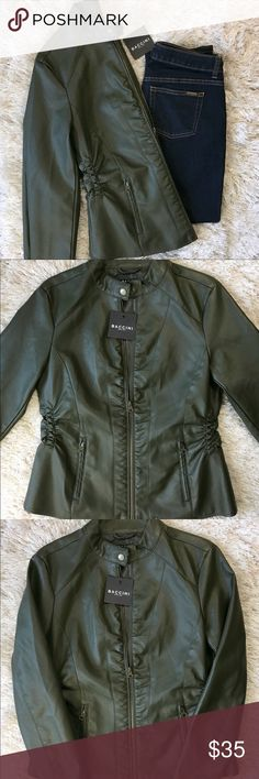 Baccini Hunter Green Faux Leather Jacket - medium Baccini Hunter Green Faux Leather Jacket.   Bust - 18 inches   Length (top of Shoulder down) - 24 inches  Shell - 100% Polyurethane Lining - 100% Polyester Baccini Jackets & Coats