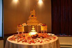 Reception, Cake, Green, Orange, Wedding, Gold, Fountain, Jameson creations