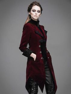Women's Swallowtail Jacket Tuxedo Style Winter Coat ~ Black or Burgundy ~ Victorian, Tailcoat, Embroidered ~ Petite to Plus Size Victorian Coat, Victorian Fashion, Gothic Coat, Smoking Noir, Looks Adidas, Tuxedo Coat, Mode Costume, Black Winter Coat, Winter Coats