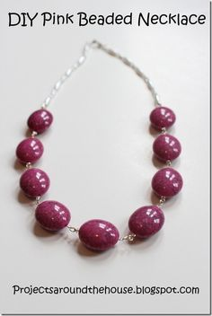 pink beaded necklace from projects around the house
