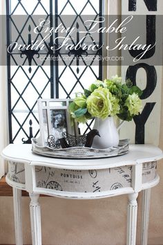 Entry Table with Fabric Inlay is an easy and perfect furniture makeover.