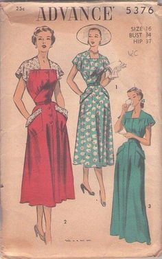 MOMSPatterns Vintage Sewing Patterns - Advance 5376 Vintage 50's Sewing Pattern MUST HAVE GLAMOUR Shaped Shirred Midriff Step In Day Dress, House Coat, Evening Floor Length Gown, Lace Sleeve Afternoon Dress WHOA! Size 16