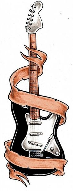 Guitar tattoo -- but what to put on the banner?with gibson Les Paul Girly Tattoos, Music Tattoos, Trendy Tattoos, Body Art Tattoos, Cool Tattoos, Tatoos, Guitar Drawing, Guitar Art, Drawing Block