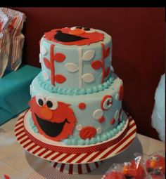 "Elmo cake.  We can help achieve this look at Dallas Foam with cake dummies, cupcake stands and cakeboards. Just use ""2015pinterest"" as the item code and receive 10% off your first order @ www.dallas-foam.com. Like us on Facebook for more discount offers!"