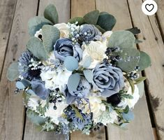 Premium Slate Blue and Cream Wood Flower Bouquet with Hydrangea, Silver Dollar Eucalyptus, Blue Eucalyptus, Dusty Miller, Navy Thistle Wood Flower Bouquet, Bridal Bouquet Blue, Sola Flowers, Blue Wedding Flowers, Blue Bridal, Small Bouquet, Bridesmaid Bouquet, Blue Flowers, Wedding Bouquets