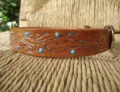 Custom Size Embossed 1 1/4 Brown Leather Dog Collar.  Flowering Vine Design.  Size Mediium or Large.