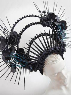 Dark and mysterious glitter coated black diva/'s spiky Halloween headdress