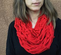 Handmade Knit Infinity Scarf Cowl Arm Knit Red by roothandcrafts