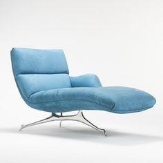 Stunning blue Vladimir Kagan chaise