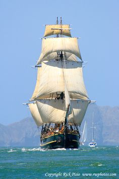 tall ship Bounty sailing into San Francisco Bay