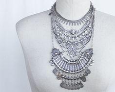 Statement necklace  Layered rhinestone and by ChickpeaDesignStudio, $185.00