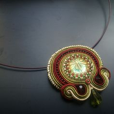 Stch5 Soutache pendant with a dragonfly glass button - inspired by Monet's waterlillies
