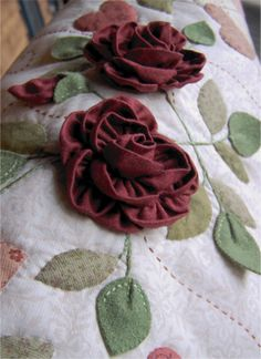 As Roses Bloom ~ Mini Quilt with 3D fabric roses