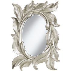 """Viola Sweeping Silver Leaves 24 1/4"""" x 36"""" Wall Mirror (195 CAD) ❤ liked on Polyvore featuring home, home decor, mirrors, decor, backgrounds, borders, picture frame, silver mirror, leaf mirror and silver home accessories"""