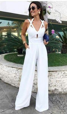 Product Pure Colour Cutout Crisscross Bandage Wide Leg Jumpsuit Brand Name Milaioshop SKU Gender Women Style Elegan White Overalls, Halter Jumpsuit, Summer Jumpsuit, Jumpsuit Outfit, Pant Jumpsuit, White Outfits, Look Chic, Mode Style, Fashion Outfits