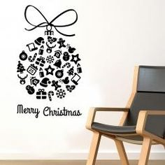 Pallina di Natale Merry Christmas Wall Sticker Adesivo da Muro