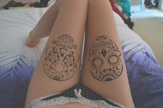 Sugar skull tattoos. I would love for Alan (Big Tiny) to do these for me! :D #Tattoos #ThighTats #SugarSkull