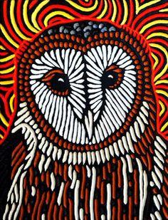 Barn Owl woodcut by Calgary artist Lisa Brawn Yarn Painting, Block Painting, Owl Embroidery, Owl Artwork, Acid Art, Jr Art, Bird Quilt, Linoprint, Wood Burning Art