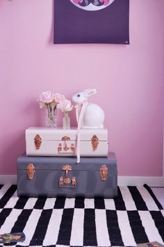Nursery with Ikea striped rug and Mr. Moon print #bunnyinabow