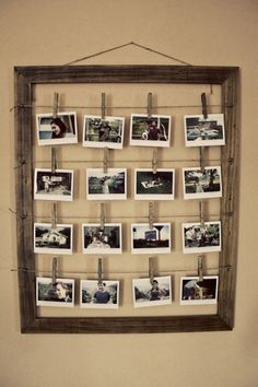 DIY : old pictures frame or dollar store frame and string any kind and clothes pins. Great way to hang photos and change them when you want.