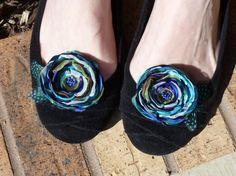 Flower Shoe Clips in Peacock Colors Wedding by BananaSueBoutique, $18.00