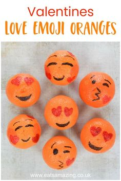 These cute and easy love emoji oranges make a great fun and healthy Valentines food idea for kids. Perfect for lunch boxes, snacks and party food! Kinder Valentines, Valentine Activities, Valentines Gifts For Boyfriend, Valentines Day Treats, Valentines Day Decorations, Valentine Day Crafts, Valentine Party, Printable Valentine, Homemade Valentines