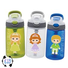 Sofia The First / Kids Personalized Water Bottle / STRAW Cup Water Bottle / Kids Custom Cup / Princess Sofia / Princess Amber / Prince James