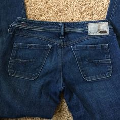 """Diesel Dark-wash Jeans High quality, made in Italy. Low rise.  Had to be hemmed. Inseam is about 32"""". Diesel Pants Straight Leg"""