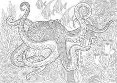 Adult Coloring Page Octopus and Fish. by ColoringPageExpress
